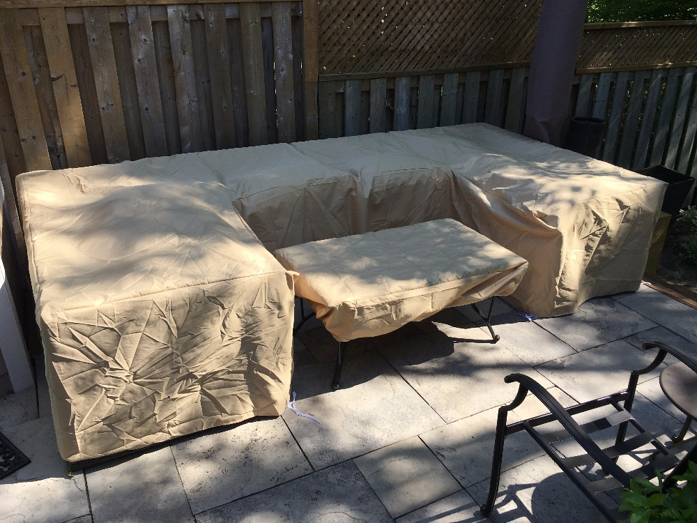L shape Cover for Garden sofa set Custom size L shape Black color durable Oxford fabric