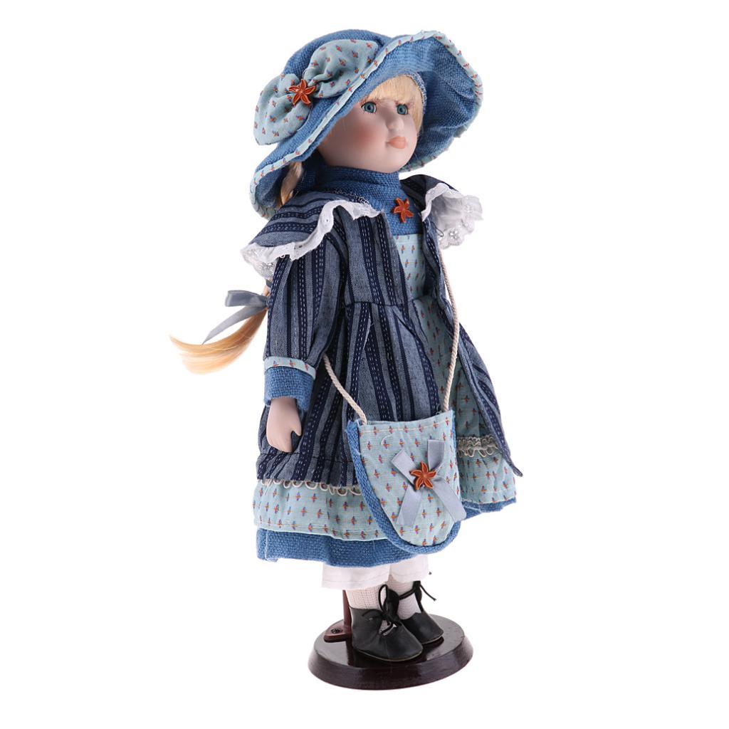 40cm Porcelain Doll Vintage Lady Figure with Pink Princess Dress Collectible