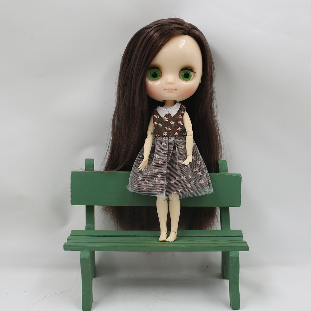 Free shipping Middie blyth Doll Deep Brown hair without bangs side cut 1 8 20cm doll