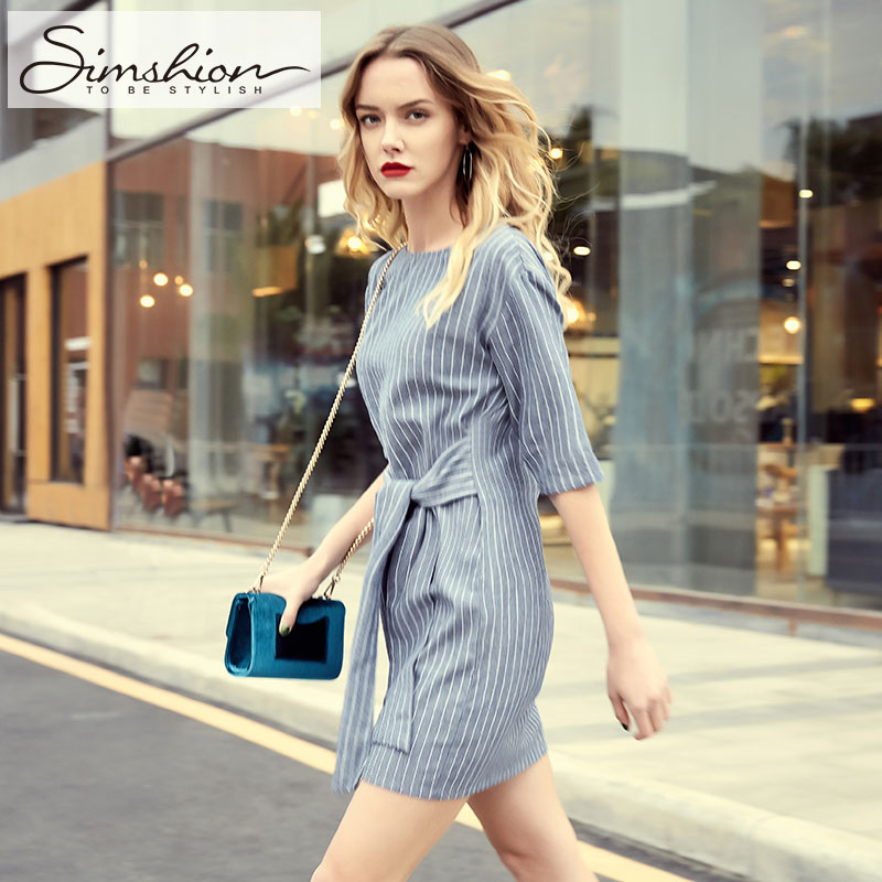 Simshion 2017 Women Casual Striped Dress Summer Short Sleeve Sashes Style Dresses For Female O neck