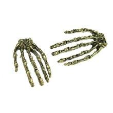 saatleri Skull Hand Ear Crystal Elegant Jewelry Punk Women Rock Gothic Stud Earring Romantic Gold Color Long Bridal Earring Clip