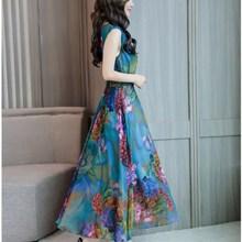 3Xl Plus Size New Summer Women V Neck Printed Chiffon Dress Female Sleeveless Bohemian Miid Dresses