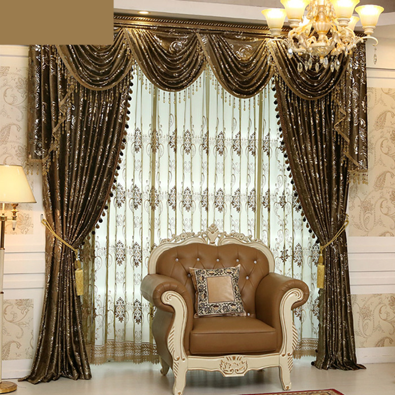 Huayin Velvet Linen Curtains Tulle Window Curtain For: Custom Curtain High Class European Luxury Velvet Fabrics