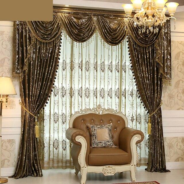 custom curtain high class european luxury velvet fabrics bronzing embossing cloth blackout curtain tulle sheer valance - Custom Curtains