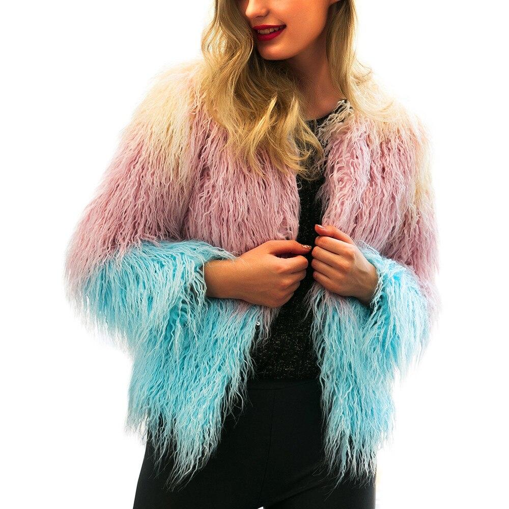 2018 Mode Mantel Frauen Warm Faux Pelz Jacke Farbverlauf Parka Oberbekleidung Winter Mantel Frauen Plus Größe Mantel Casaco Feminino