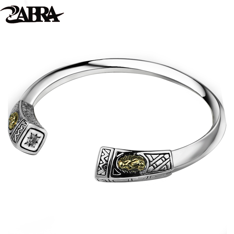 ZABRA 925 Sterling Silver Thick 9mm Virgin Mary White Zircon Open Cuff Bangle Women Mens Vintage