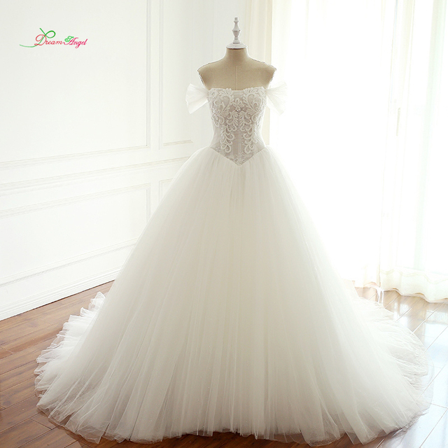 Dream Angel Sexy Illusion Strapless A Line Wedding Dresses 2019