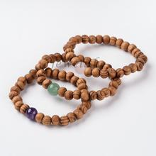Wood Beaded Stretch Bracelets, with Natural Mixed Stone Beads, 53mm