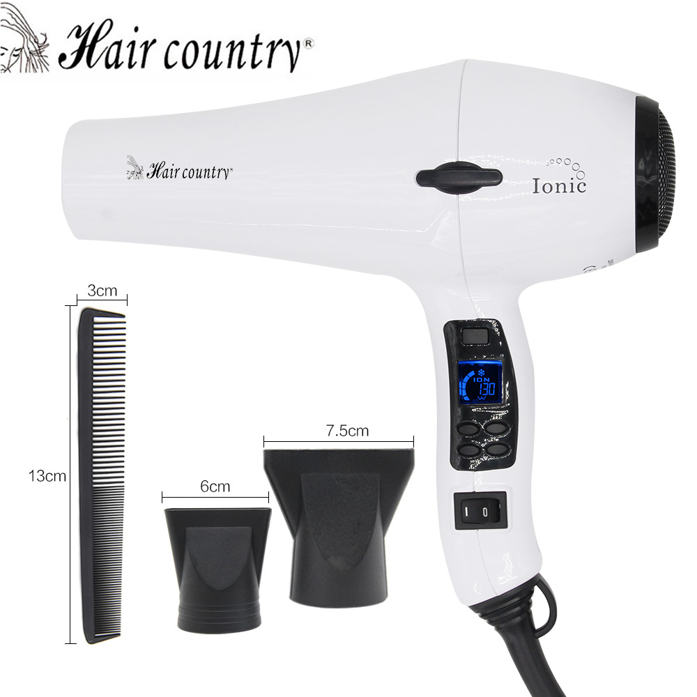 Hair country Professional Hair Dryer LCD Display Hair Dryer Original Blow Dryer Anion Negative Ionic Hairdryer Hot and Cold Seca kemei new professional 1200w luminous black hair dryer blow dryer negative ion hairdryer hot and cold secador free shipping
