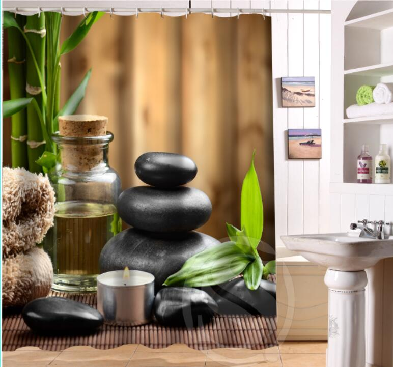 Custom Home Decor Zen Stone Shower Curtain Polyester Fabric Printing Bathroom Waterproof With Hook Bath Gift