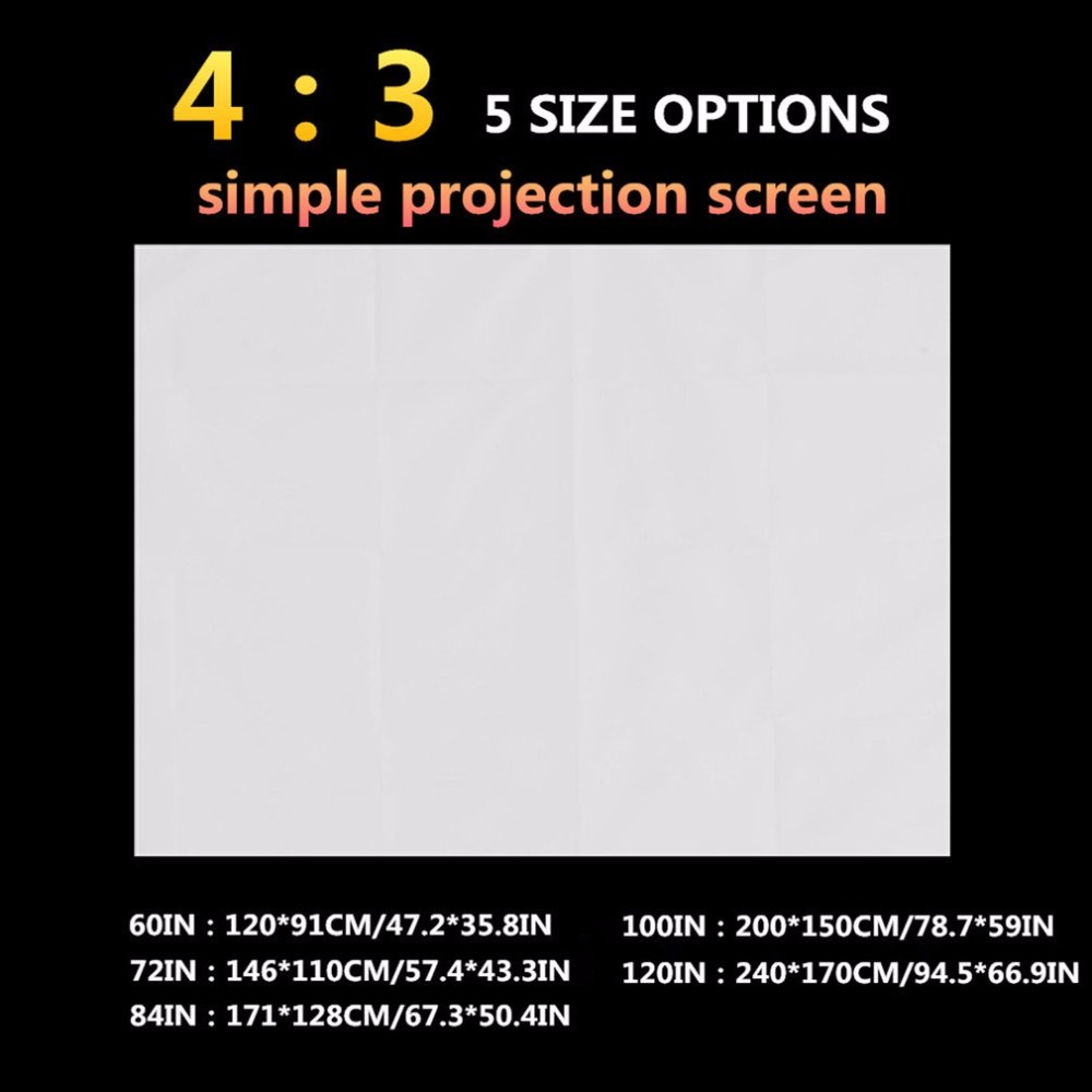 4:3 Foldable Home Projection Screen Soft Polyester Film Theater Outdoor Movie Video Screen 60/72/84/100/120 inch for Projector ...
