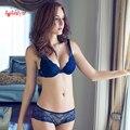 2015 MAIS NOVO Mulheres de A/B/C/D Copo Push Up Bra Set Sexy V-Neck Plunge Lace Bra + Briefs, sutiã de renda lingerie sexy sutiã Frete Grátis
