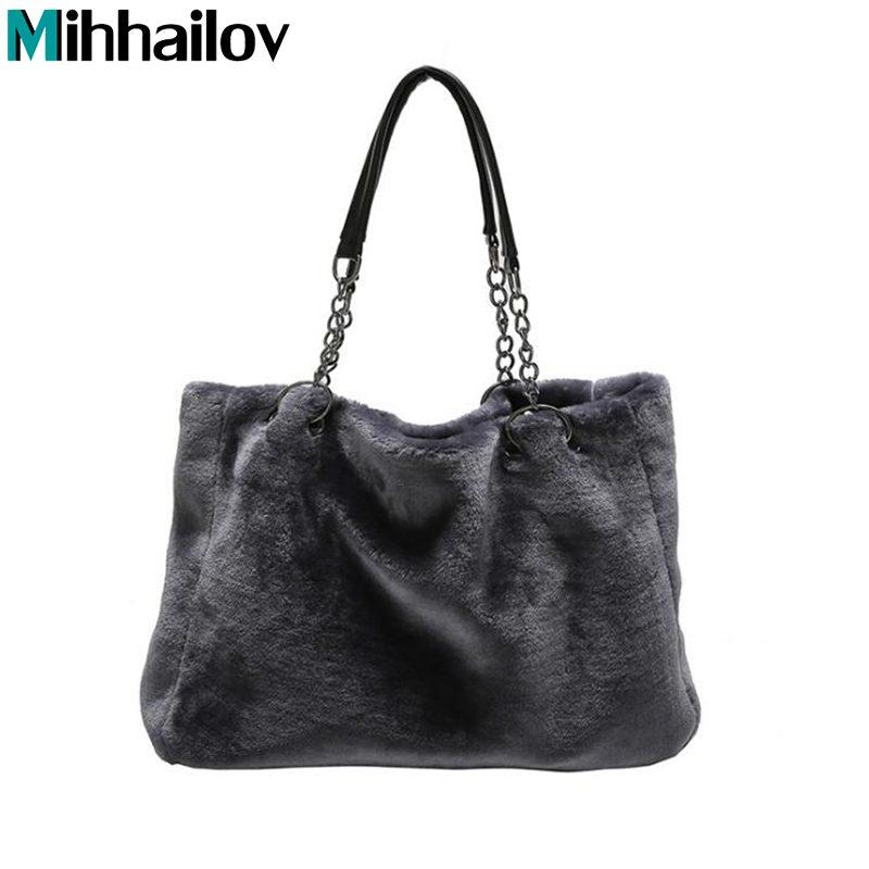 Winter Women Faux Fur Handbags Fashion Causal Women Totes Female Big Capacity Shoulder Bags Big Chains Women Handbag XS-296