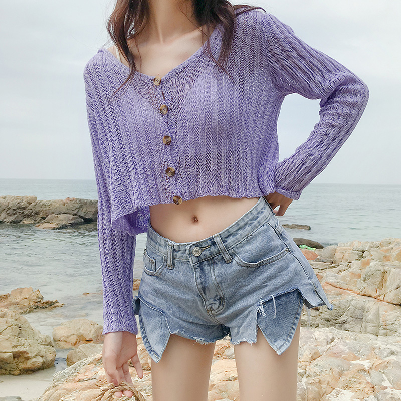 Ladies Short Cardigan V Neck Long Sleeve Cotton Cropped Cardigan Sweaters Thin Coat feminino Autumn Knitwear for Women