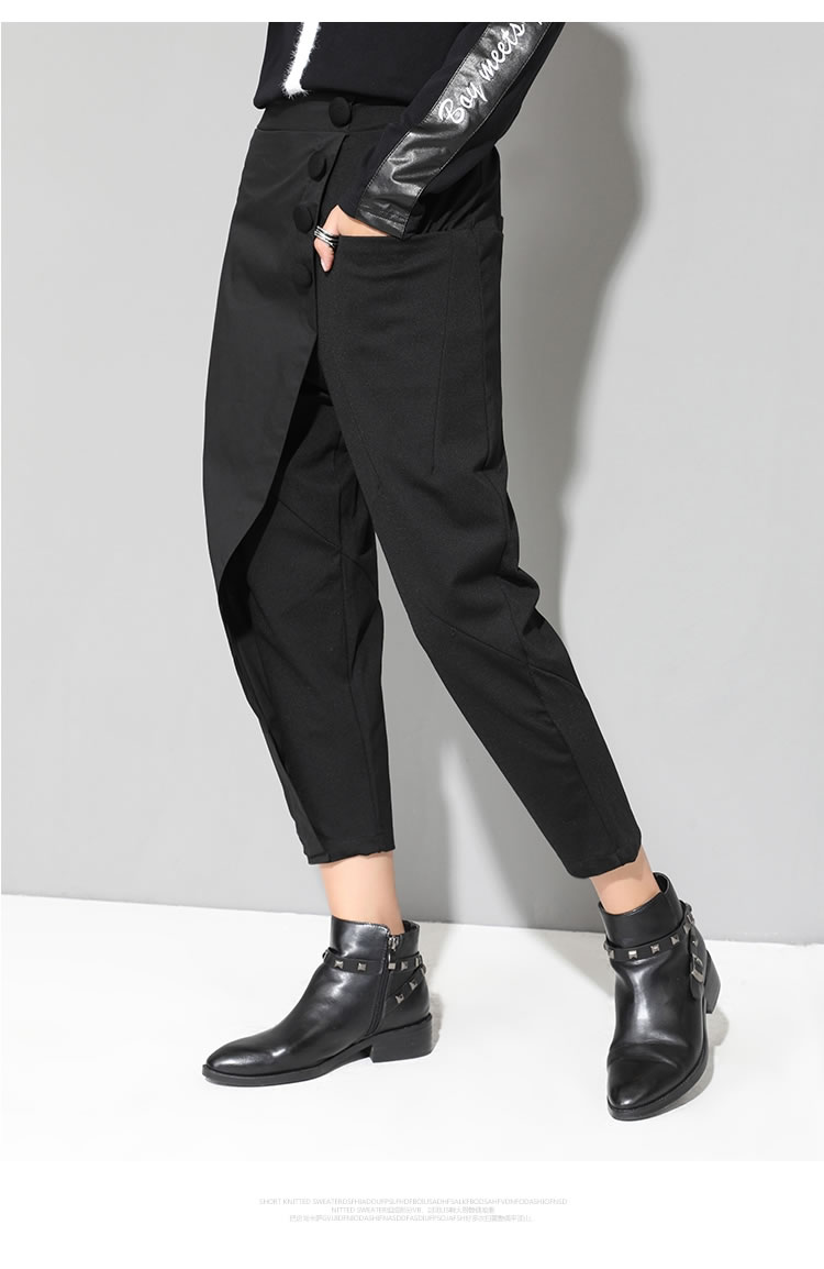 XITAO Black Tide Long Harem Pants Women Elastic Waist Button Fly Casual Modis Front Patchwork Female Trouser 2019 Autumn LJT3926 21