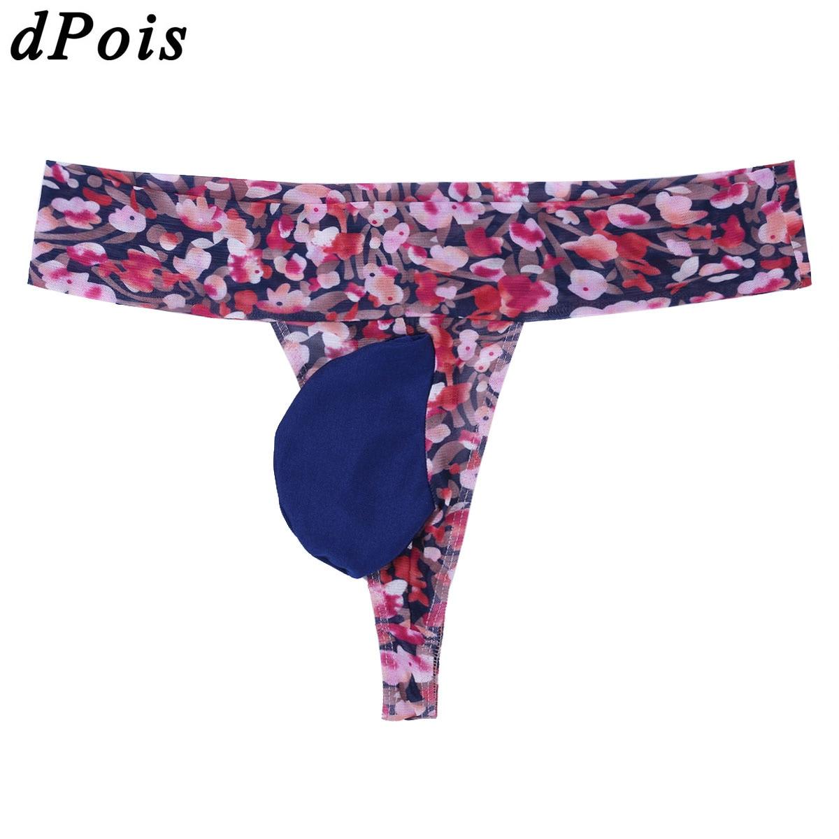 ea1d733315c5 Men Bikini Sexy Underwear with Penis Pouch U Convex Briefs Mens Soft Plum  Pattern G string