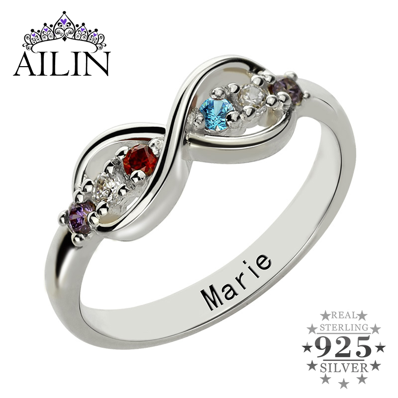 Infinity Birthstone Rings Personalized Mother s Ring Silver Customized Name Ring Family Rings with Birthstones Gift