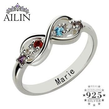 5e7e2956ab7c Birthstone anillos personalizados madre anillo de plata nombre  personalizado anillo de familia anillos con piedras regalo para la madre