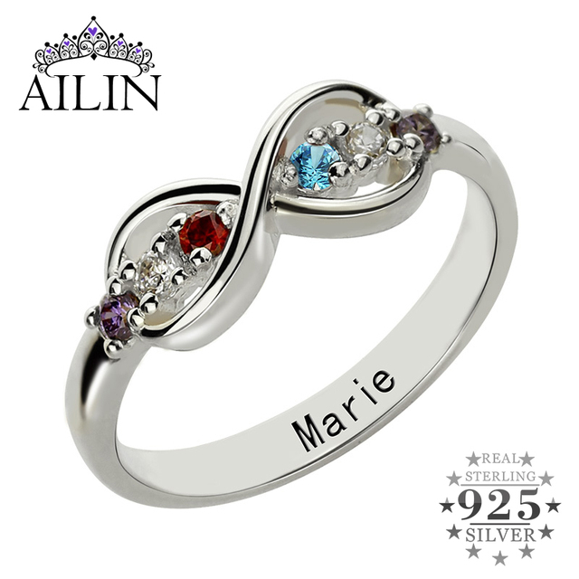 mothers in heart infinity rings silver simulated ring birthstone sterling