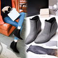 Autumn Women Wedges heels Boots 2017 European Pointed toe Booties height increasing Platform Ankle Boots Big Size Black /Grey