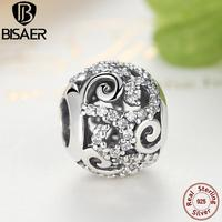 Gennuine 925 Sterling Silver Openwork Charm Beads With Clear CZ Fit Original Pandora Bracelet Bangle Authentic