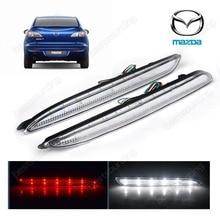 2pcs Clear Lens LED Rear Bumper Reflector Backup Tail Brake Fog Light For Mazda3 M3 2004-2009(CA175)