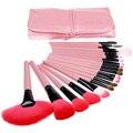 24 unids Pincel de Maquillaje Profesional Conjunto de Herramientas de color rosa/negro/madera Cosmética Polvos Sombra de Ojos Cepillos Del Ventilador con La Belleza Bolso de las mujeres