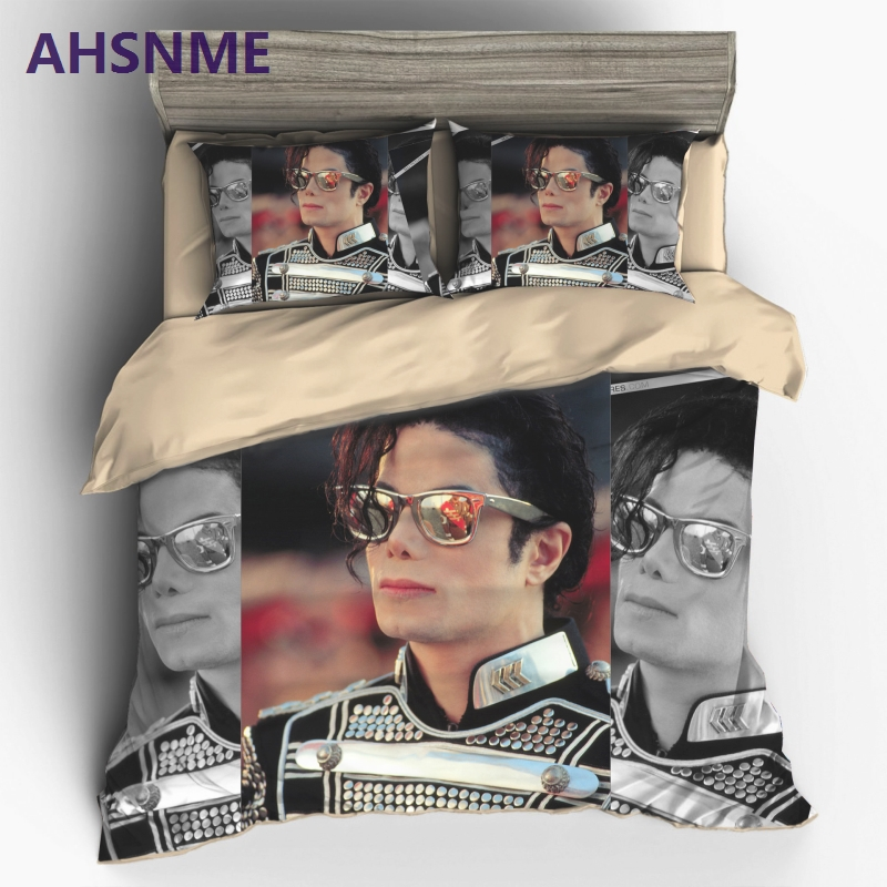 AHSNME Classic Superstar MJ Home Textile Mike Jackson Live Style Sanding Polyester 2 3pcs Bedding Set