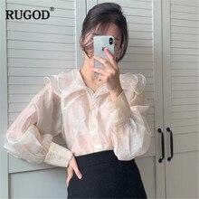RUGOD Spring New Fashion Women Blouse Sweet Lady Two Piece Solid Elegant Women