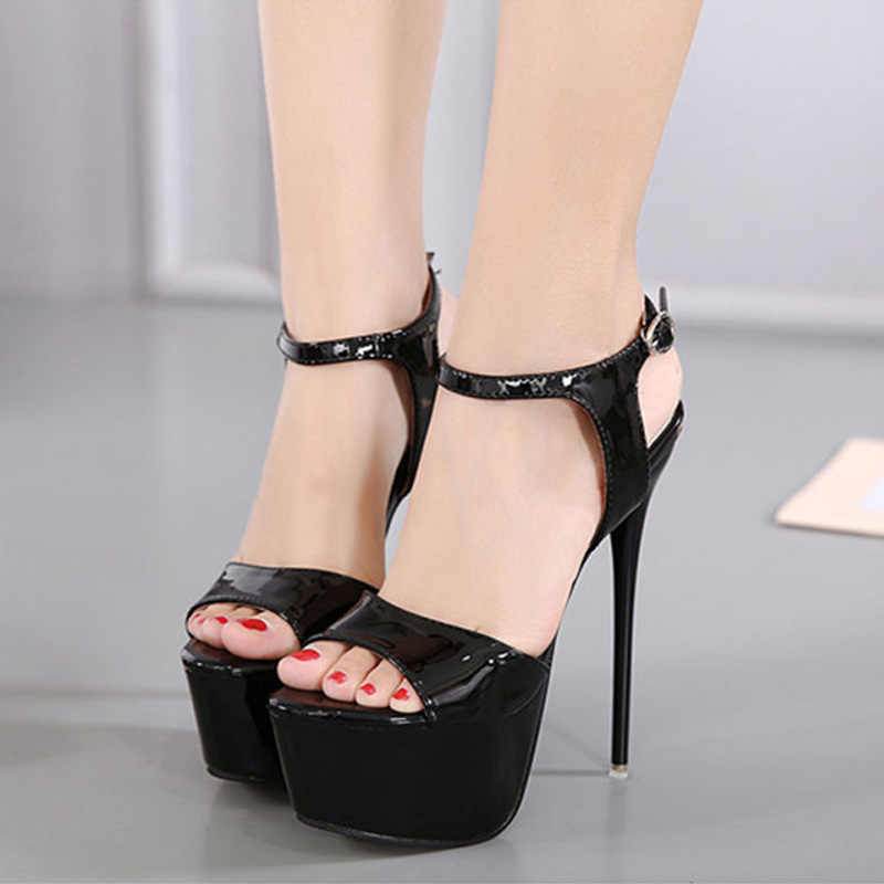 Kobiety bardzo wysokie obcasy 16cm sandały buty platformy kobiece pompy eleganckie wysokiej jakości klamry kostki pasek wesele buty