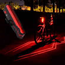 Laser Bicycle Taillight Super Bright USB Battery Rechargeable Waterproof Bike Rear Flasing Light