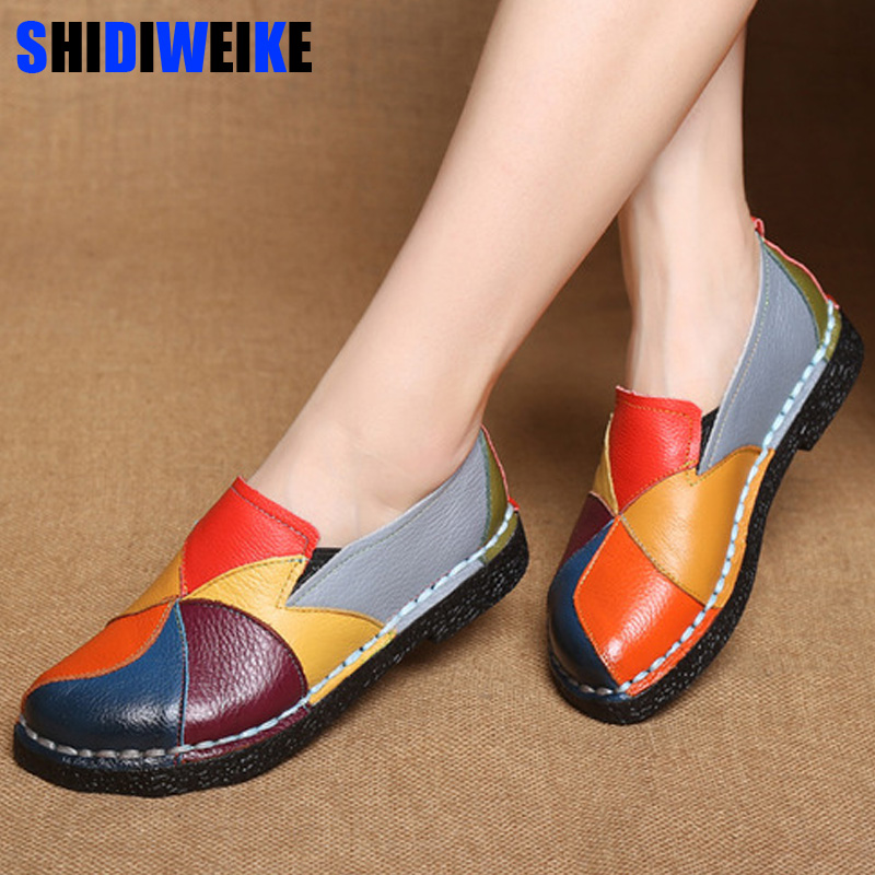 2019 Women Ladies Female Shoes Flats Mother Shoes Cow Genuine   Leather   Loafers Colorful Non Slip On Designer 35-42 n817