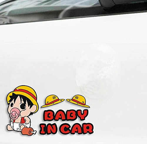 XYIVYG 1pc Luffy Car Sticker Baby In Car Warning Cartoon