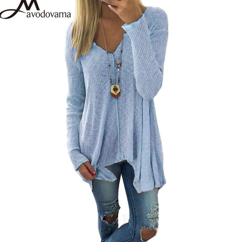Avodovama M Modo Delle Donne V Neck Manica Lunga Asimmetrico Hem Pullover Partito Solid Plus Size Maglione