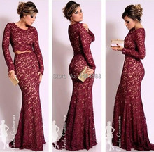 Free Shipping Vestidos De Renda Sexy Wine Red Lace Mermaid Evening Dresses With Long Sleeves Prom Satin SU486
