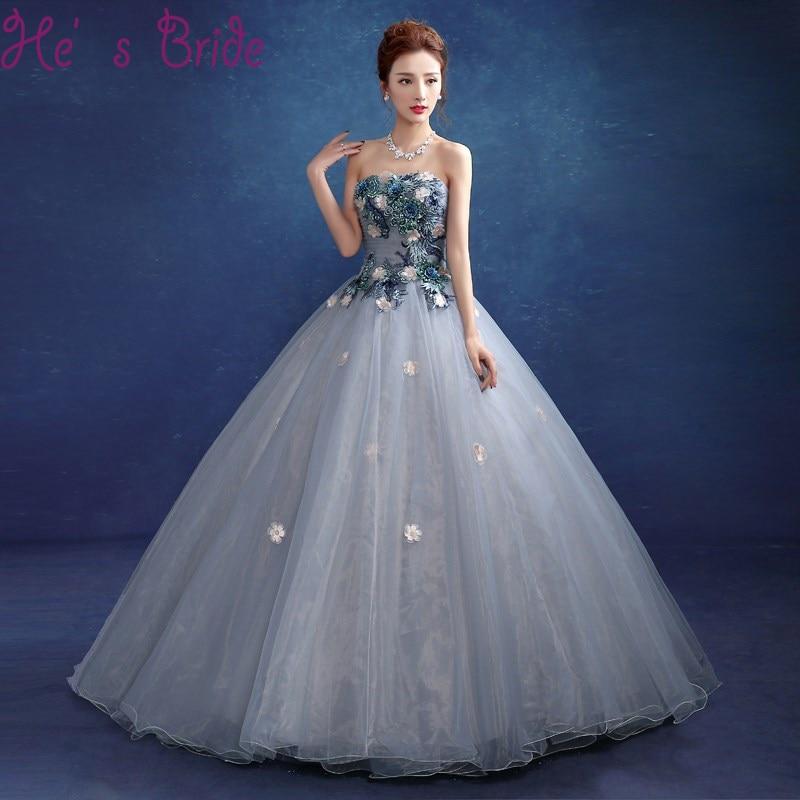 2da8c0d60c Detail Feedback Questions about Vestido De Festa Plus Size Gray Blue Prom  Dress Lace Appliques Flowers Embroidery Strapless Sleeveless Evening Party  Dresses ...