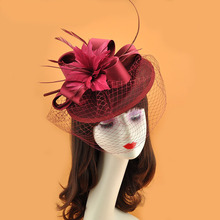 Fascinators Hat Women Flower Mesh Ribbons red Top Fedoras elegant wedding hats Headband Clip Tea Party Headwewar for Girls