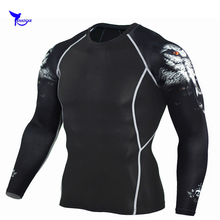 2018 New 3D Printed Long Sleeve T Shirt Fitness Men MMA Bodybuilding Crossfit Compression Top Clothing Quick Dry Skinny Shirts