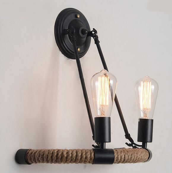 American village industrial wind wall lights Hemp rope wall creative nature personality Edison 2 heads Cafe Hotel wall lamp