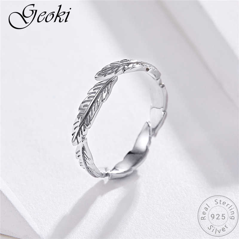 Geoki 925 пробы серебро ретро перо форме кольцо оригинальный S925 в форме птичьего крыла волос кольца с гравировкой для Для женщин Роскошные ювелирные изделия