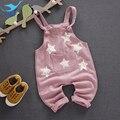 M & F Calças Infantis Crianças Outono e na Primavera de Moda Estrelas Suspender Calças Macacão de Algodão Menino e Menina Calças Crianças roupas
