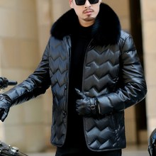 Men Coat White Duck Down Puffer Parka Genuine Leather Thicken Warm Outwear Real Fox Fur Collar Motorcycle Mid Length