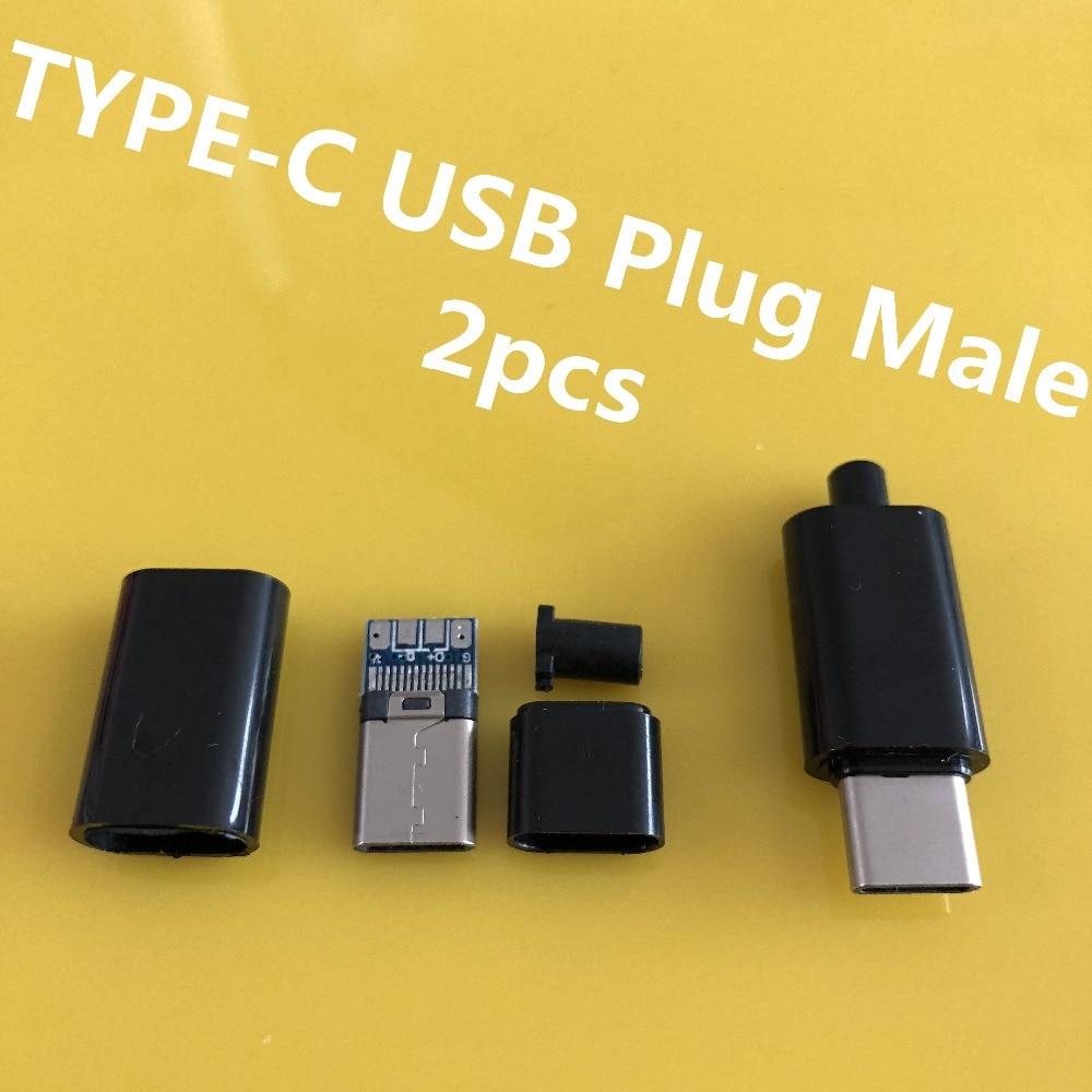 2PCS/LOT YT2156 TYPE-C USB Plug Male connector Black/White welding Data OTG line interface DIY data cable accessories все цены