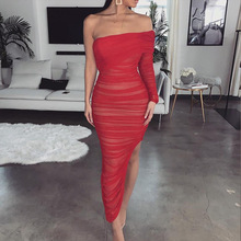 Sexy Bodycon Strapless Dress Women Mesh Single Sleeve Party Club Red