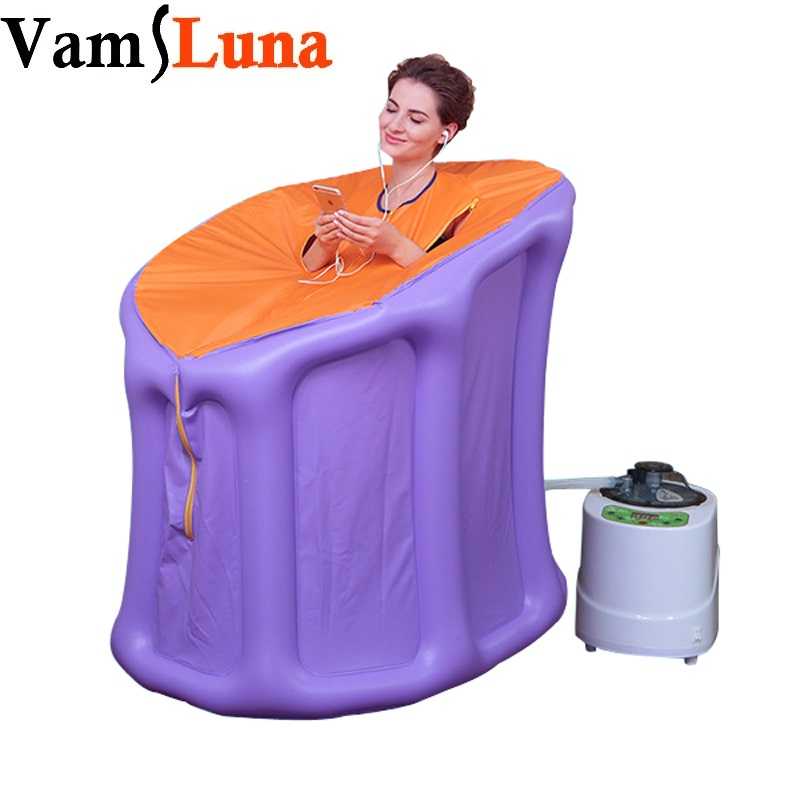 VamsLuna Portable Steam Sauna with Steam Generator Home Sauna Box for Slimming Detoxin Burning Calaries Relieve Pains Massage 2017 top selling most popular heating steam box home steam sauna fat burning and body slimming sauna room chair included