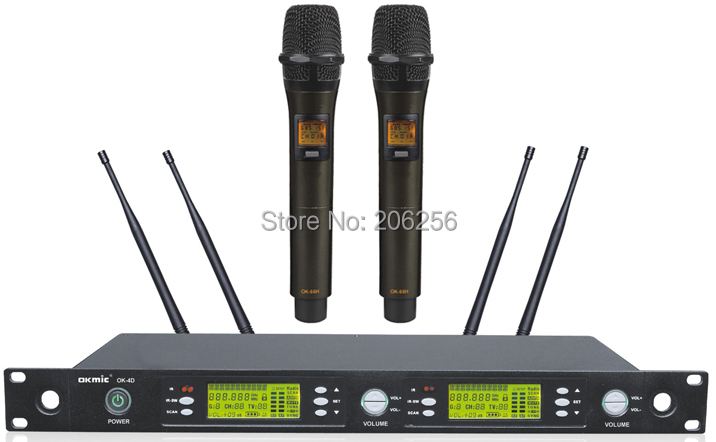 High Quality OK 4D 66H Professional UHF PLL true diversity wireless microphone system wireless 66H dual