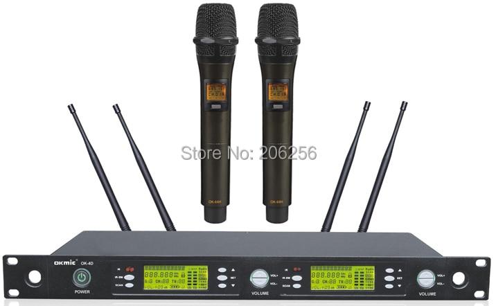 Haute qualité OK 4D/66 H professionnel UHF/PLL véritable diversité système de microphone sans fil, sans fil 66 H double émetteur de poche-in Microphones from Electronique    1