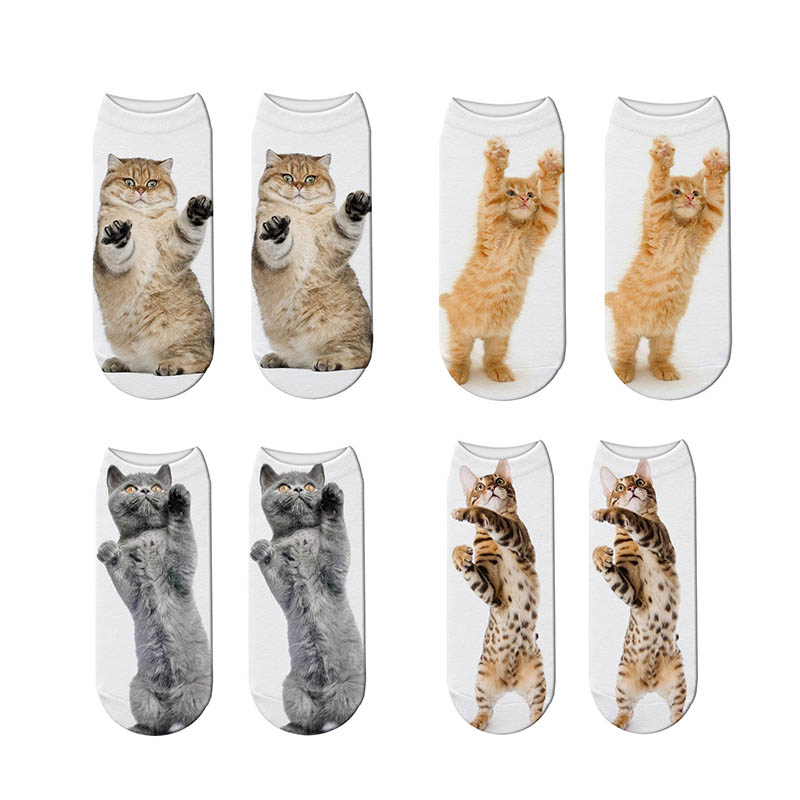 RUBU Hot 3D Printing Women Socks Fashion Unisex Cotton Socks Cat Printed Female Funny Low Ankle Men Femme Sock Sale 7S-ZWS18