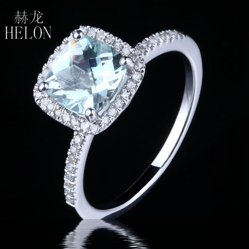 HELON 7x7mm Cushion Cut 1.3ct Genuine Aquamarine 0.18ct Diamond Engagement Wedding Ring Real 14k White Gold Jewelry Women Ring