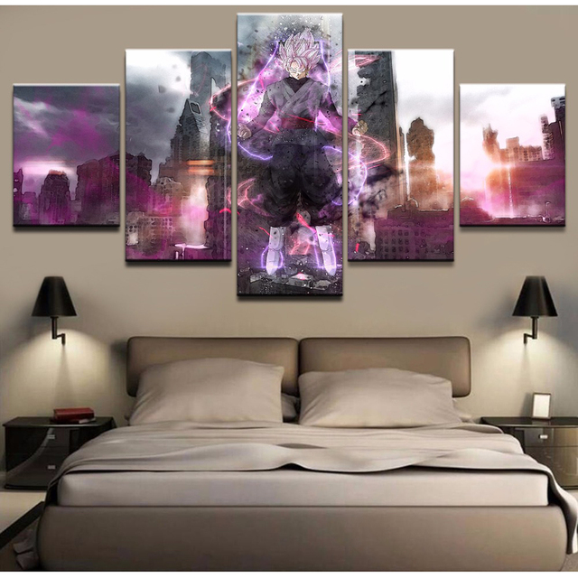 Home Decor Printed Artwork Canvas Painting 5 Pieces Dragon Ball